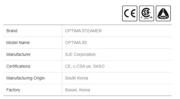 Electric Steamer Optima XE General Info
