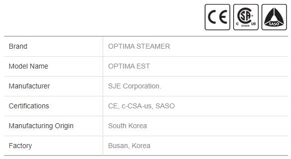 Electric Steamer Optima EST General Info