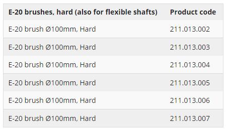 E-20 brushes, hard (also for flexible shafts)